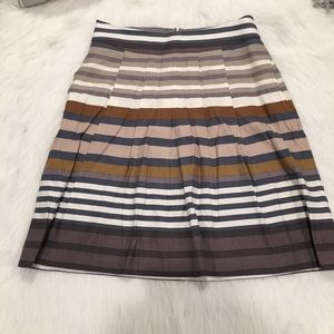 Banana Republic Gray & Brown Stripped Pocket Skirt